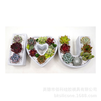 BK2012 14 new product clear water concrete concrete flowerpot silicone mold I love you series IOU