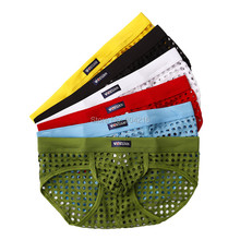 6PCS Hot Sale Men Mesh Hollow Out Shorts Briefs Panties Male Adult Sexy Lingerie See Through Underwear S M L Free Shipping