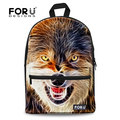 FORUDESIGNS new trendy wolf schoolbags 3D animal youth school backpacks mochila double shoulder bag for boy students sucksack
