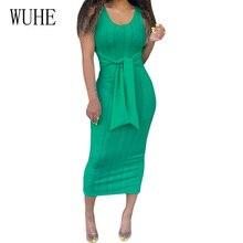 WUHE Fashion Green Casual O Neck Sleeveless Maxi Dress Tie Up Knitted Bodycon Pencil Dress Summer Basic Women Street Wear