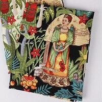 Telas vintage Frida Kahlo stampa popeline di cotone tessuto patchwork metro di stoffa da cucire vestito tecidos para artesanato materiale tessile