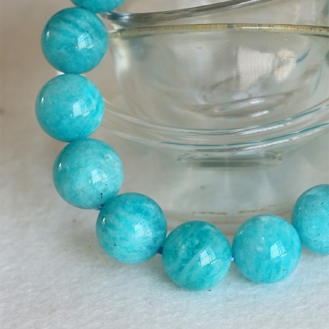 High Quality Natural Genuine Blue Green Amazonite Smooth Round Finished Stretch Men's Bracelets Big Beads 13mm 04392