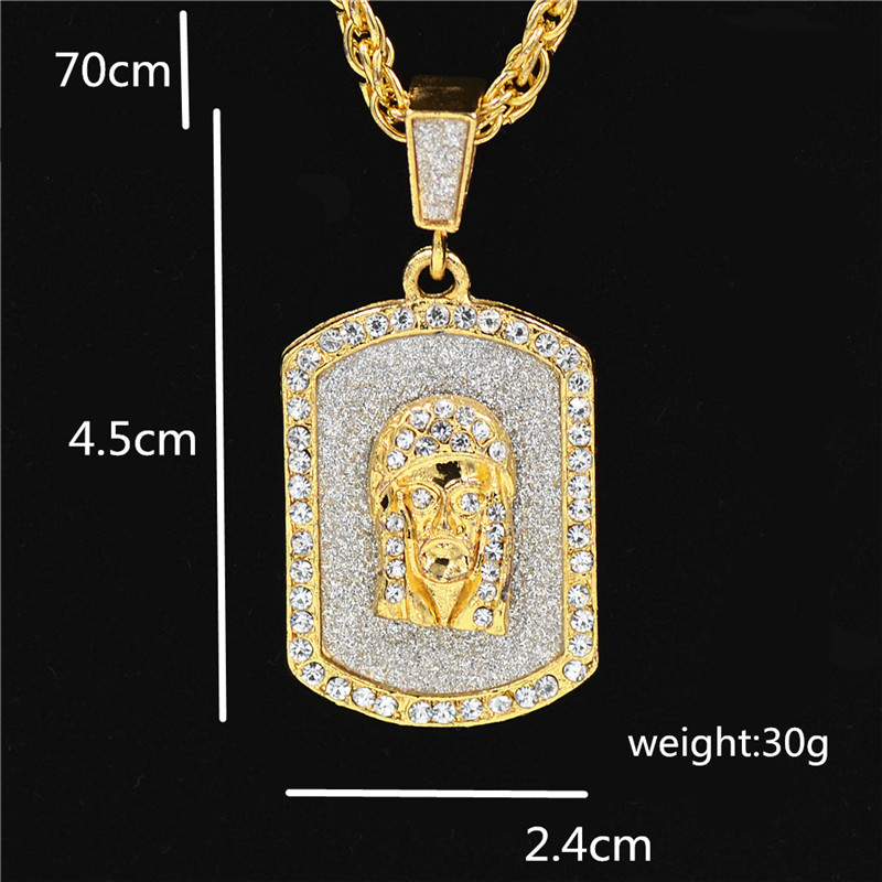 Shining stone Jesus head pendant retro necklace hip hop man hang tag golden color fancy decoration simple in Pendant Necklaces from Jewelry Accessories