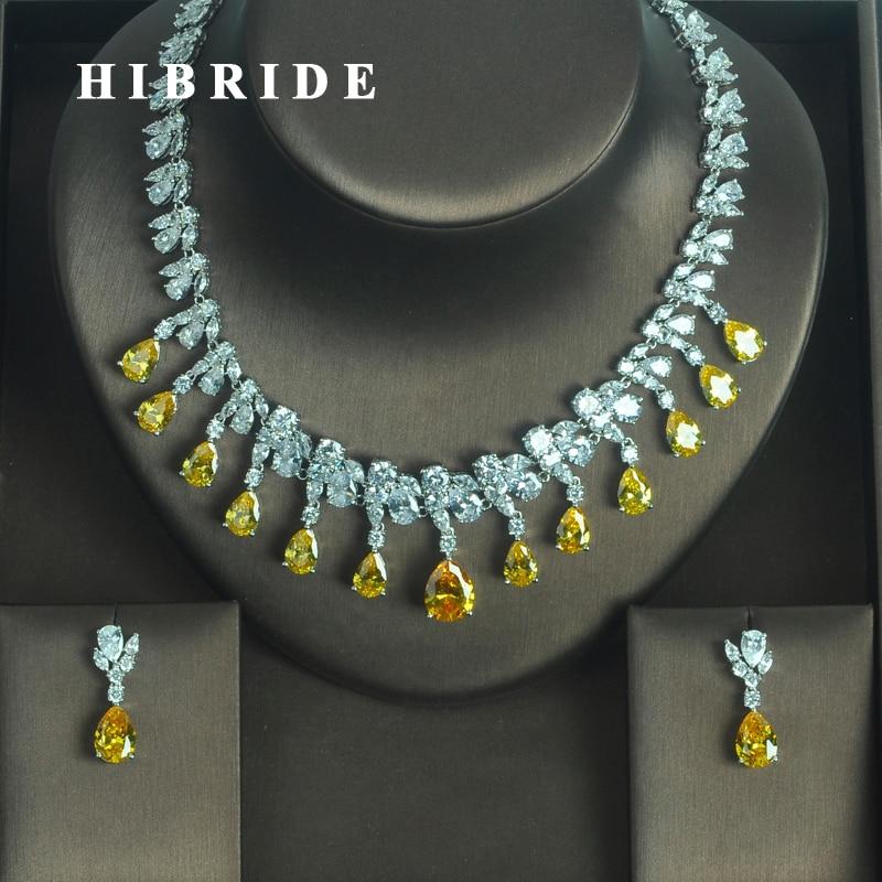 HIBRIDE Luxury Sparkling Yellow Water Drop Shape AAA CZ Stone Women Earring Necklace Sets Jewelry Sets