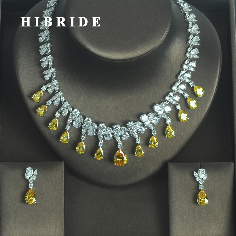 HIBRIDE Luxury Sparkling Yellow Water Drop Shape AAA CZ Stone Women Earring Necklace Sets Jewelry Sets Jewelry N-332 hibride luxury new butterfly shape earring necklace jewelry set women party jewelry small link pendant brincos bijoux n 643