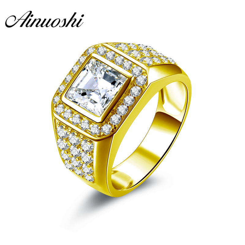 AINUOSHI Luxury 10K Solid Yellow Gold Men Ring Square Cut Halo Ring Trendy Engagement Wedding Male Jewelry 9g Big Wedding Band sounderlink amt 2560