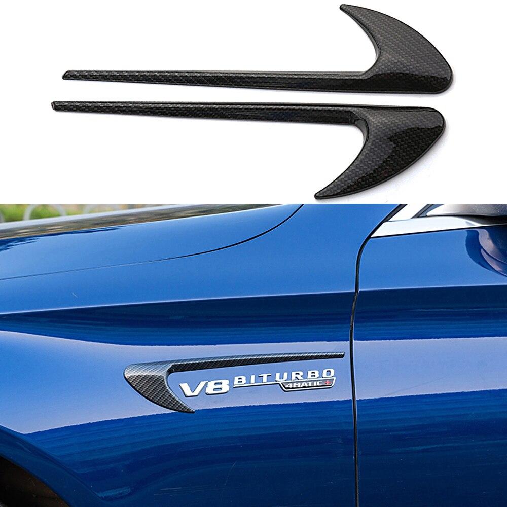 2 個フェンダーエンブレムステッカー 3D V8 BITURBO メルセデスベンツのための AMG ABCES クラス CLA CLK W203 GLA GLC GLE GT W204 車スタイリング -