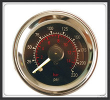 Double pointer air gauge DUAL needles 0-220PSI Black face barometer pneumatic suspension air ride air bag pressure