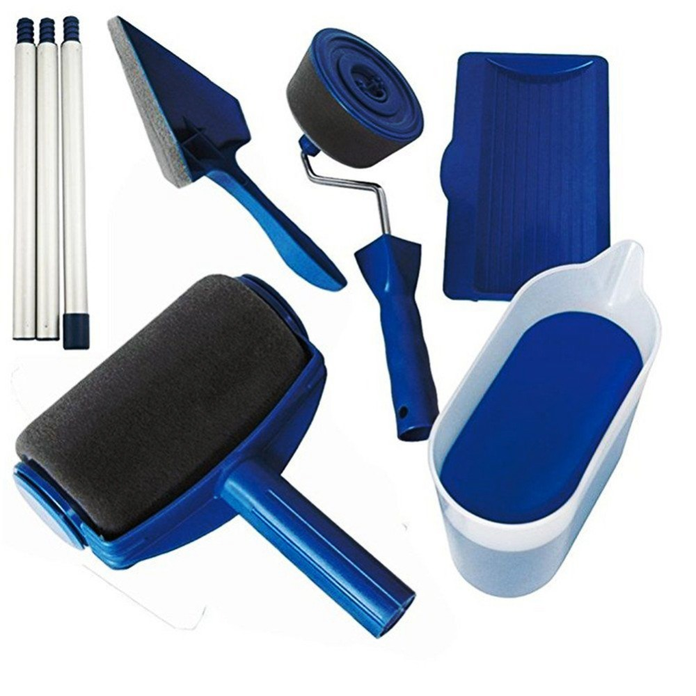 Wholesale price Paint Runner Pro Roller Brush Handle Tool Flocked Edger Office Room Wall painting Home Garden Paint Rollers Set paint runner pro roller brush tools set paint runner set for room wall painting tools dropshipping