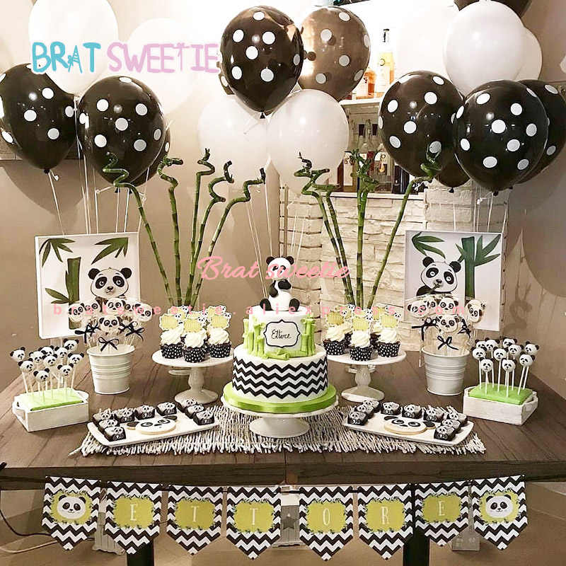 Detail Feedback Questions About Jungle Party Decorations Black White Cartoon Panda Walking Animal Balloons For Kids Themed Happy Birthday Banner
