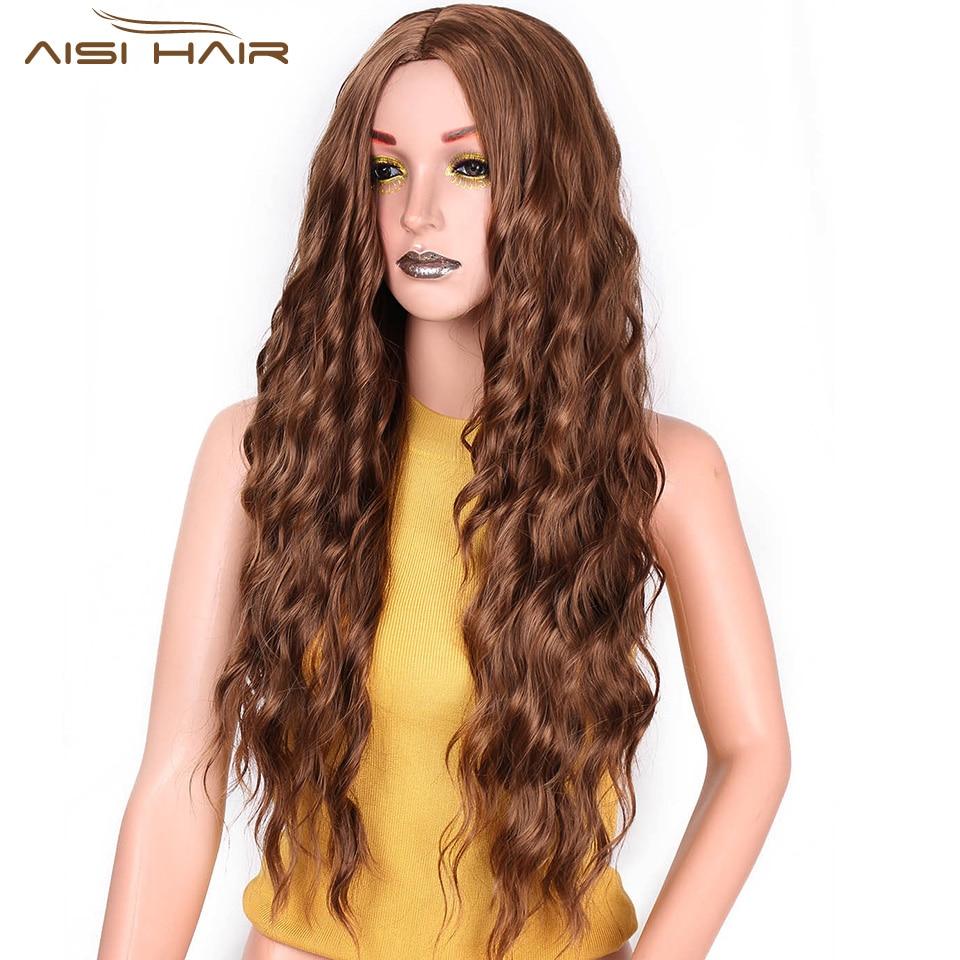 मैं महिलाओं के काले बालों के लिए एक विग सिंथेटिक ब्राउन ब्लोंड रेड ब्लैक हीट रेसिस्टेंट हेयर वाटर वेव्स लगाती हूं