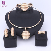 Dubai Gold Color Jewelry Sets Necklace Earrings Bangle Ring Indian Sets For Women Costume Accessories Wedding