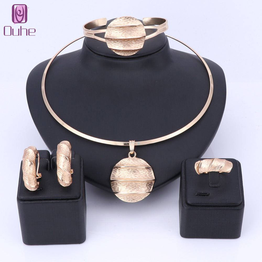 Dubai Gold Color Jewelry Sets Necklace Earrings Bangle Ring Indian Sets For Women Costume Accessories Wedding Bridal Gift