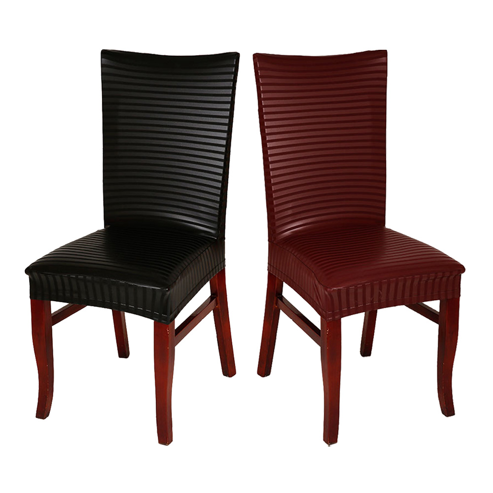 6pcs lot Modern Black Wine Red Waterproof PU Leather Chair Cover For Hotel Home Decoration Household