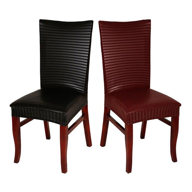 6 Adet Grup Modern Siyah Sarap Kirmizi Su Gecirmez Pu Deri Sandalye Kilifi Otel Ev Dekorasyon Icin Sandalye Koltuk Kapaklari