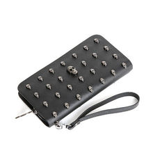 Leather Women Wallet Purse Skull Rivet Wristlet Wallets Long Zipper Handbag free shipping(China)