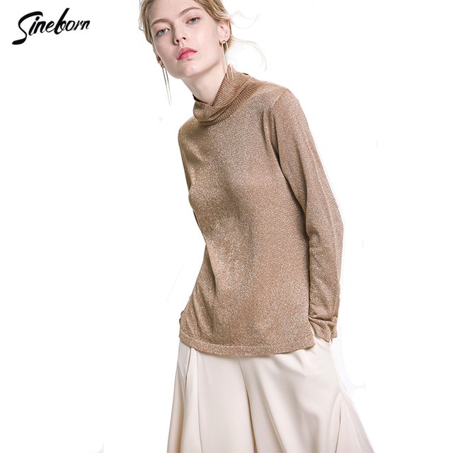 Sexy Knitted cableknit sweater Women Gold Thread Mercerized cotton  Turtleneck Long sleeve side vent Fitness Shiny Sweater 77c258e43