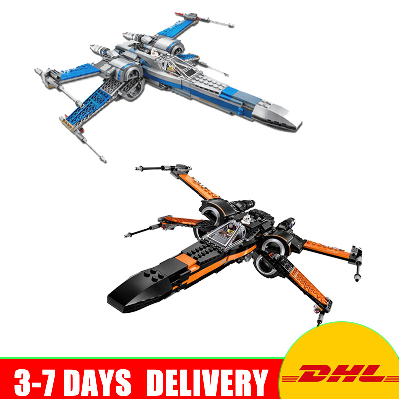 цена LEPIN 05004 Star Wars Poe's X Wing Fighter 05029 Resistance X-Wing Fighter Model Building Block Bricks Toys Clone 75102 75149