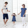 Familia Conjunto de Estilo Polka Dot camisetas de Algodón Madre Hija padre hijo camiseta ropa family clothing outfit matching familiar TM6