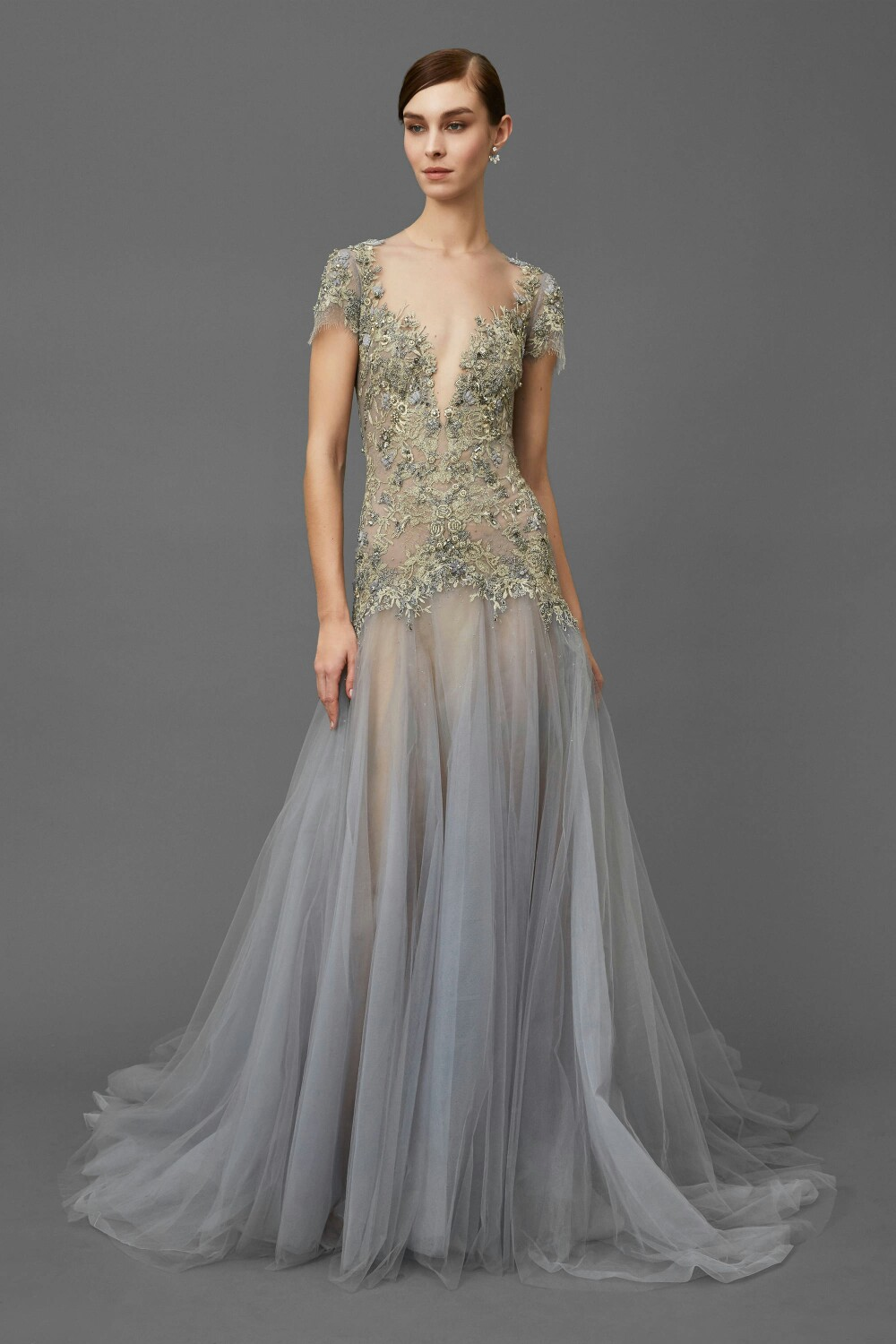 e2c49b7c21 Elie_Saab Champagne and Gray Tulle Evening Dresses O- Neck short sleeve  Floor length Court train