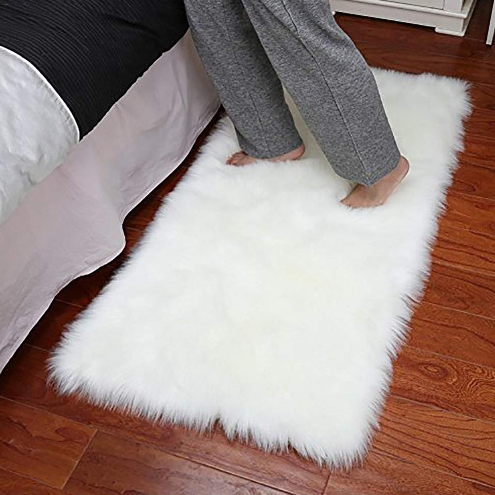 60*120 Rectangle Soft Faux Sheepskin Fur Area Rugs For Bedroom Floor Shaggy Silky Plush Carpet White Faux Fur Rug Bedside Rugs