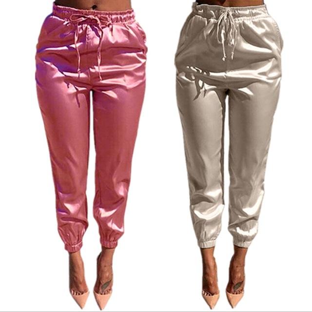 Europeu 2016 Outono Mulheres Elásticas Calças Lápis de Cintura Alta Rua Bege de Cetim Rosa Mulher Ocasional Calças Compridas Atacado