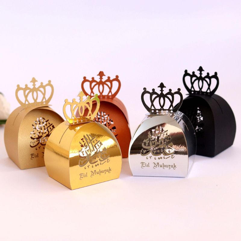 25pcs Laser Cut Hollow Candy Box Pearlescent Paper Wedding Party Favors Boxes Muslim Eid ...