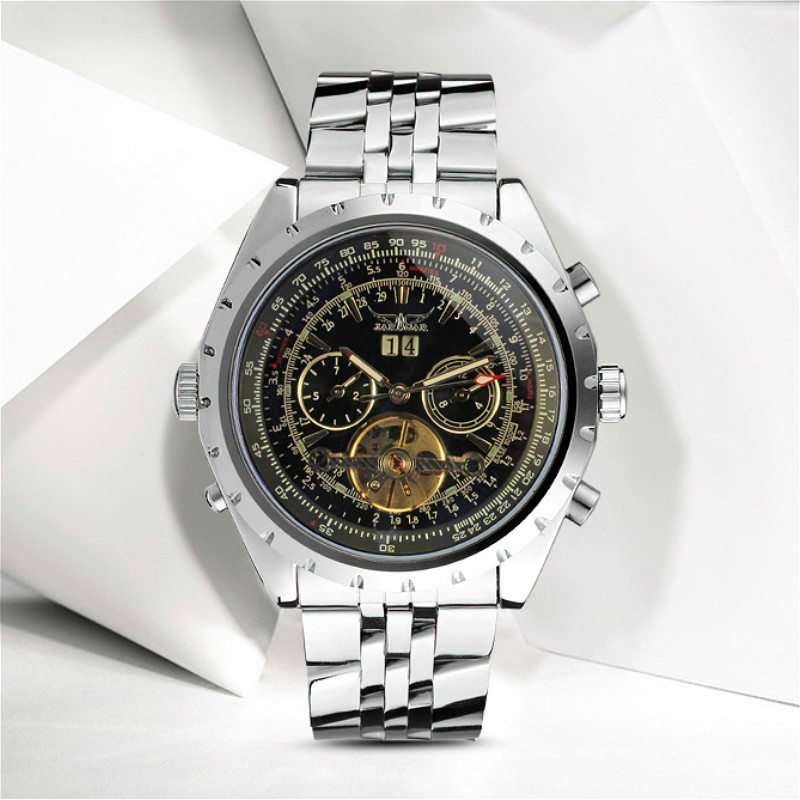 JARAGAR Men's Watch Stainless Steel Automatic Steel Strap Luxury Wristwatch restaurant wireless table bell system 1 counter monitor 5 wrist watch pager 40 button 3 key call bill cancel