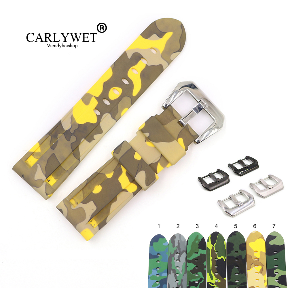 CARLYWET 22 24mm Camo Yellow Dark Grey Waterproof Silicone Rubber Replacement Wrist Watch Band Strap Loops For Panerai Luminor(China)