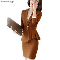2 Pieces Set Notched Neck Women Skirt Suit High Quality New Work Wear Formal Full Sleeve Camel Blazer Jacket & Skirt With Belt
