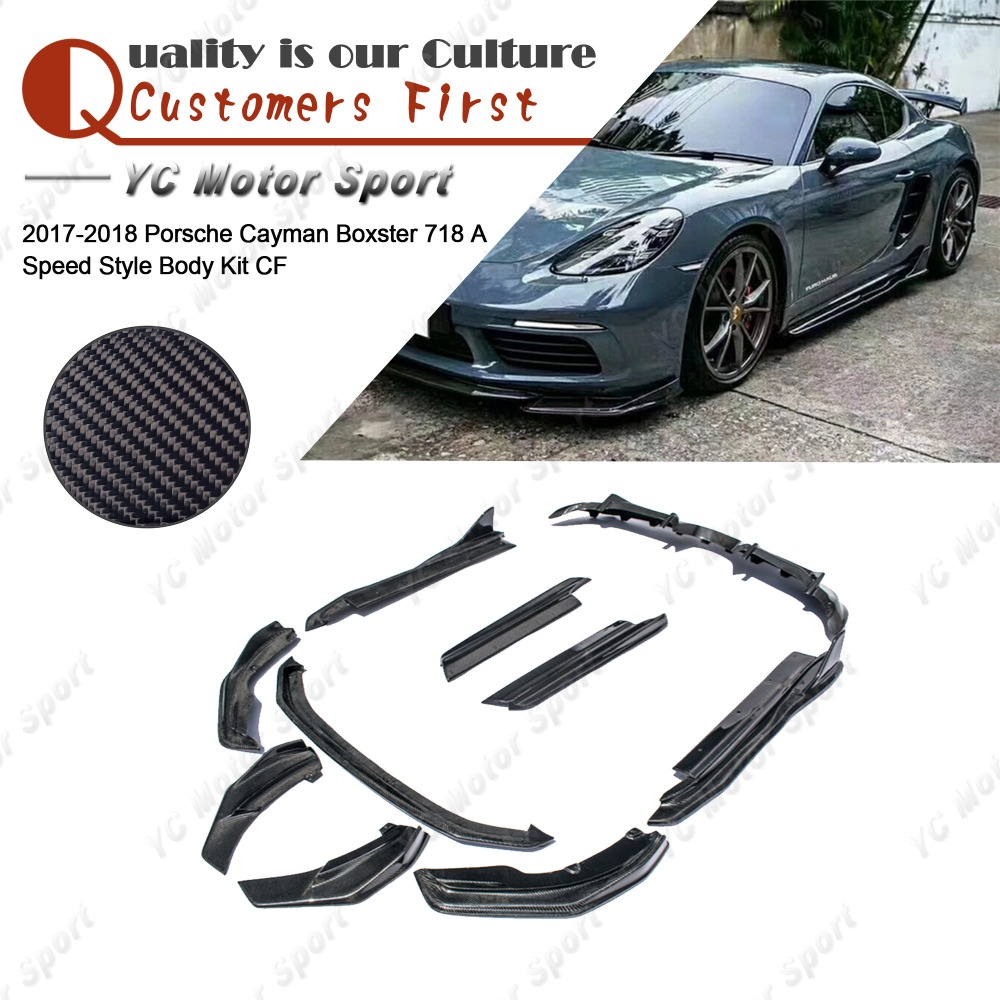 Carbon Fiber Arma Style Bodykit Fit For 2017-2018 Cayman <font><b>Boxster</b></font> <font><b>718</b></font> Body Kit Front Lip Side Skirts Rear Diffuser Spats image