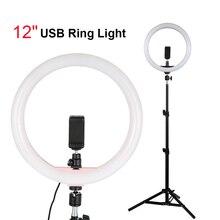 30センチメートルランプusbライトと1.1メートル三脚スタンド電話ホルダー12「調光対応ledの写真撮影の照明xiaomi iphone huawei社