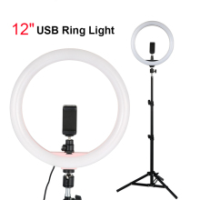 """30cm lamp USB Ring Light With 1.1m Tripod Stand Phone Holder 12"""" Dimmable LED Photography Lighting For xiaomi iPhone huawei"""