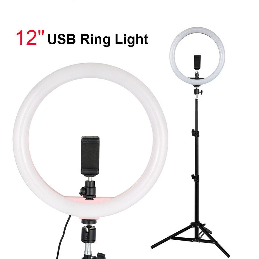 Tycipy anneau lumineux USB avec support de trépied 1.1m et support pour téléphone 12