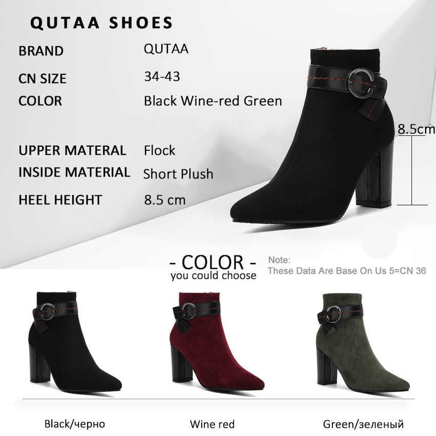 QUTAA 2020 Dikiş Toka Fermuar Moda yarım çizmeler Sonbahar Kış Akın Platformu Kadın Ayakkabı Kare Topuk kısa çizmeler Boyutu 34-43