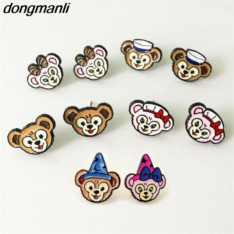 P1663 Dongmanli Cartoon enamel Kids Earrings Jewelry Cute Bears Ear Rings Eardrop Girl Women Party Decoration Best Gift