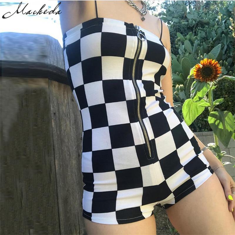 Macheda New Rompers Women Casual Playsuit Fashion Zipper Black White Lattice   Jumpsuit   Ladies Off Shoulder Bodycon   Jumpsuits