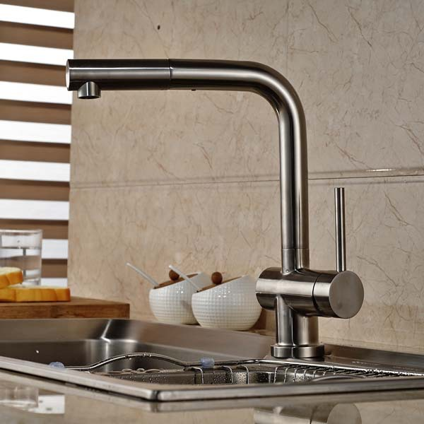 Pull Out Kitchen Faucet Deck Mounted Vessel Sink Mixer Tap Single Handle Hole Hot And Cold Water newly chrome brass water kitchen faucet swivel spout pull out vessel sink single handle deck mounted mixer tap mf 302