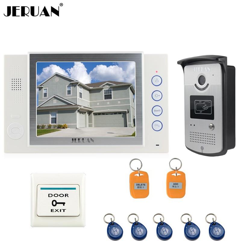 JERUAN 8 inch TFT video door phone doorbell intercom system Home access control system RFID video