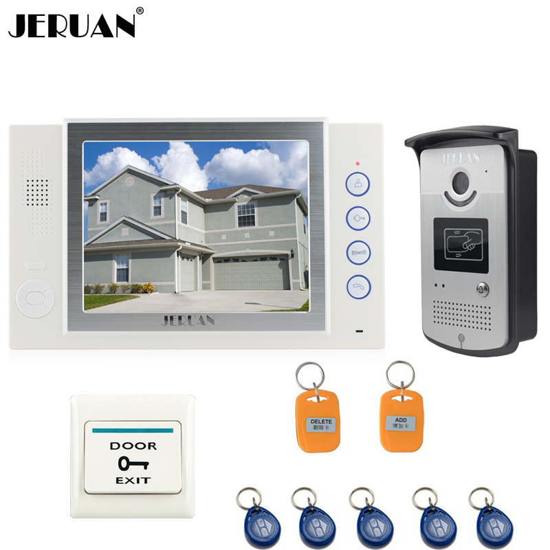 JERUAN 8 inch TFT video door phone doorbell intercom system Home access control system RFID video recording photo taking jeruan 8 inch video door phone high definition mini camera metal panel with video recording and photo storage function