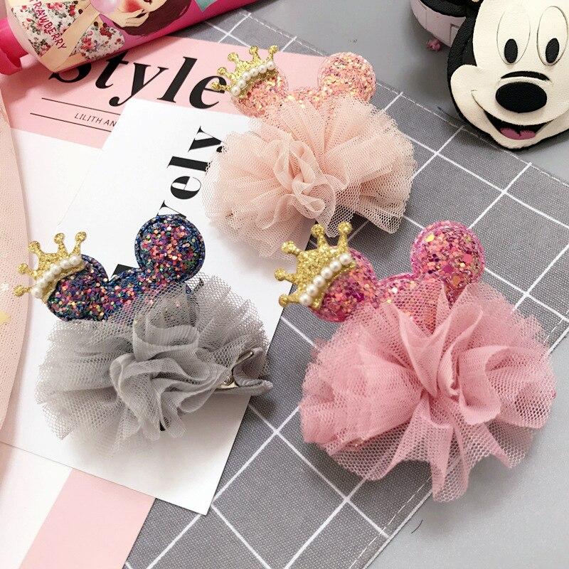 Korea Handmade Cute Lace Flower Cartoon Bear Crown Hairpins Hair Clips For Kids Children Girls Head Wear Accessories-SWKHRP003C5