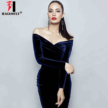 HAGEOFLY 2018 Autumn New Long Sleeve Vestidos Fashion Women Party Runway  Dress Sexy V Neck Off f0451d4862be