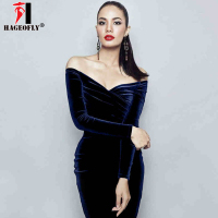 HAGEOFLY 2018 Autumn New Long Sleeve Vestidos Fashion Women Party Runway Dress Sexy V Neck Off Shoulder Club Midi Velvet Dress