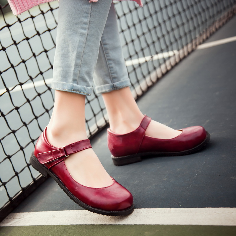 Summer Sweet Flats Shoes Footwear Woman Mori Girl Style Mary Janes Shoes Retro Black Red Larger Size Shoes