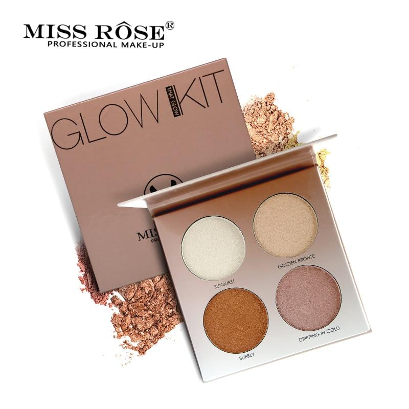 Miss Rose 4 Colores Base de Kit de Maquillaje Brillo Paleta de Maquillaje Iluminador Highlighter Brighten