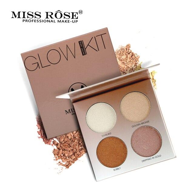 Miss Rose 4 Cores Iluminar Base de Maquiagem Brilho Paleta Kit de Maquiagem Marcador Iluminador
