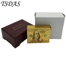 New 24K Gold Poker Card Gold Plated $100 Dollar Style, High-grade Leisure Game Golden Playing Card Gift Box With Certificate