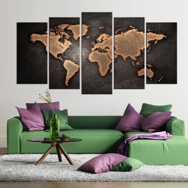 5 Pcs/Set Modern Abstract World Map Wall Art Painting World Map Canvas  Printed Painting