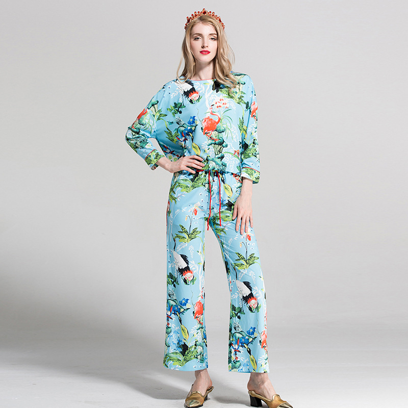 Designer Runway Pants Suit Womens Long Batwing Sleeve O-Neck Print Loose Blouse + Casual Trousers Tracksuit Two Pieces Set B773