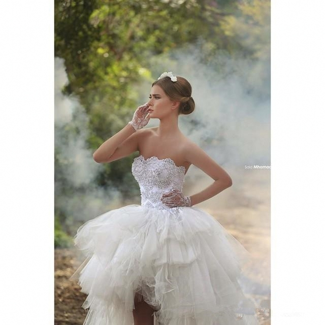 Lace Ball Gown Wedding Dresses Short Front Long Back Bridal High Low